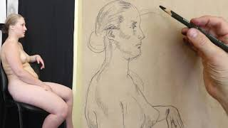 Art classes figure drawing model asya with Artacademy USA