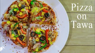 Veg Pizza Recipe In Hindi | Tawa Pizza Without Oven & Yeast | Cheese Tawa Pizza Recipe | Ep-224