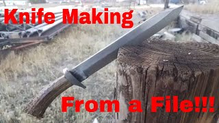 Knife Making - Making a Bowie Knife From a File With Antler Handle