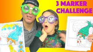 3 Marker Challenge with Googly Eyes Glasses  and Doodle Specs Loopy Lenses Eyes Drawing Toy