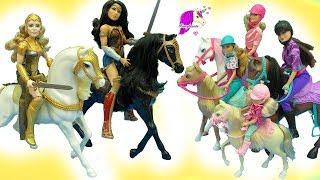 Barbie Horseback Riding Sisters + Wonder Woman Princess Diana Horse Doll Sets