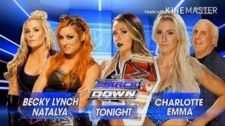 WWE Smackdown 2016 05 05 Charlotte & Emma vs Natalya & Becky Lynch 1