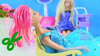HOT PINK Hair Color Cut for Anna & Barbie + Made To Move Unboxing & Stop Motion by Rainbow Collector