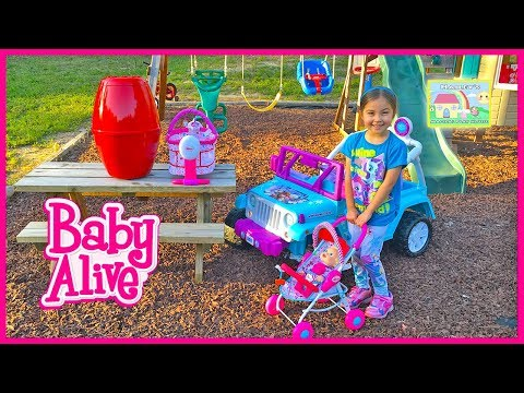 BABY ALIVE DOLL & ANIMAL BABIES + Giant Egg Surprise Opening Toy Surprises Frozen Elsa Ride-On Toys