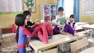 SuperHero Kids Go To School Dance in Classroom Frozen Elsa Song For Kids