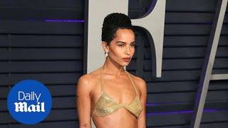 Zoe Kravitz attends Vanity Fair after-party in sheer gold bra