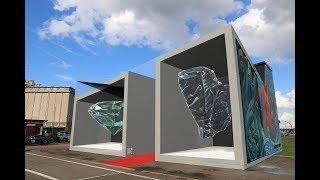 'Redline' 3D mural in Antwerp by Leon Keer