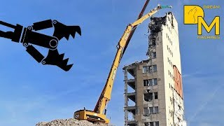 CATERPILLAR 385C HIGH REACH DEMOLITION EXCAVATOR RIPPING DOWN BUILDING