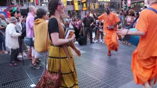 Hare Krishna dance with a talented little girl in New York City - Times Square