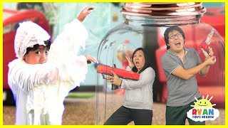Ryan vs Mommy and Daddy in a Box Jar! Nerf Toys Family Fun Kids Pretend Playtime