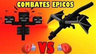 ENDER DRAGON VS WITHER BOSS | COMBATES EPICOS EN MINECRAFT| LA PELEA MAS LARGA