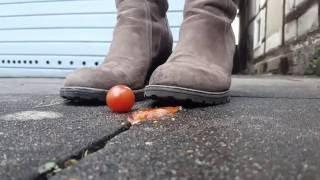 Crush Tomato with big Heel [Slow Motion] !