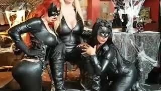 Catwomen photoshoot with Pornstars Karen Fisher,  Raven Hart and Savana Styles