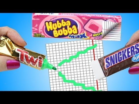 10 DIY School Supplies Easy Weird DIY Crafts Hacks w Candy Mini Notebook Pens…Cool DIYs