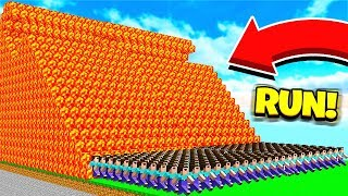 500 FANS vs MINECRAFT LAVA RUN!