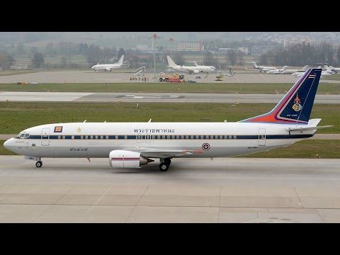 Live ATC Boeing 737 of Crown Prince of Thailand Maha Vajiralongkorn at Zürich Kloten