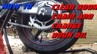 FZ6R how to change oil, clean/lube chain at first 600 mile service