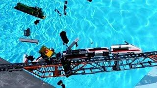 Lego train crash on Lego bridge Compilation