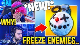 "STREAMERS REACT TO *NEW* ""CHILLER GRENADE"" (FREEZE ENEMIES!) - Fortnite Moments"