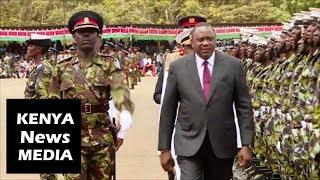 President Uhuru Kenyatta INSPECTS guard of honour at KDF passing out parade in Eldoret !!!