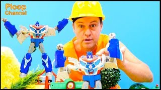 TOY CRUSHER! - Brio Toy Trains & Optimus Prime MegaTron Transformer Toys videos for kids