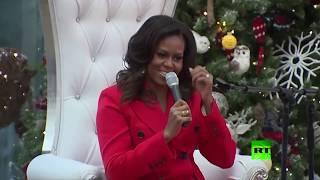 شاهد.. رقصة نارية لـ ميشال أوباما مع سانتا كلاوز