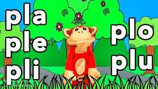Sílabas pla ple pli plo plu - El Mono Sílabo - Videos Infantiles - Educación para Niños #