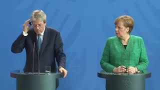 Berlino, conferenza stampa Gentiloni - Merkel (con traduzione simultanea)