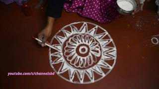 Alpona design in circle/বৃত্ত দিয়ে আলপনা নকসা  আকা