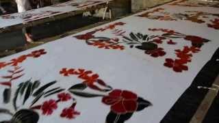 sarong hand painting process at balibeachweardotcom 1