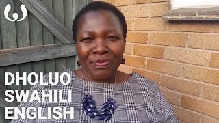 WIKITONGUES: Miriam speaking English, Dholuo, and Swahili