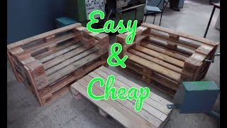 DIY Pallet Couch and Coffee Table - EASY !