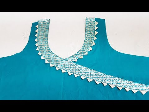 Stylish Front Neck Designs (Angrakha Style) Cutting and Stitching