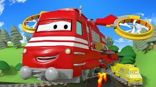 Troy the Train: The Helicopter Train -  Cars & Trains construction cartoon for children