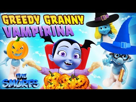 VAMPIRINA Halloween Greedy Granny Game w Smurfs Clumsy Brainy Smurfette Slime Learn Colors & Numbers