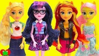 My Little Pony Equestria Girls Dolls Twilight Sparkle, Sunset Shimmer, Fluttershy Toy Video