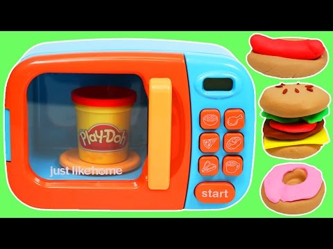 Play Doh Food Cooking Microwave Oven Play Dough Hamburger Donut Hotdog Pizza & More!