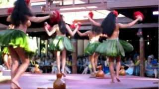 Polynesian Village @ Disney/ Hawaiin Girls in grass skirts doing Hawaiin dance