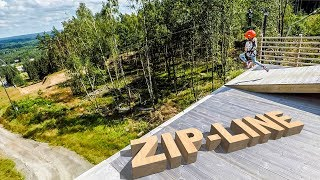 Zip-Lining at Kungsbygget Adventure Park