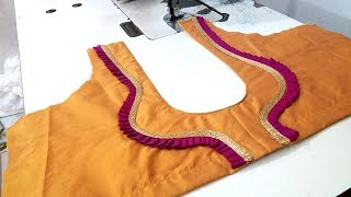 Easy Blouse Design Cutting Stitching Stylish Golden Lase Design Blouse Tailoring Classes in Tamil