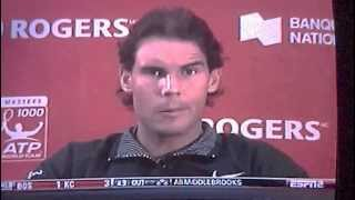 Press Conference after Nadal hit Djokovic with tennis ball