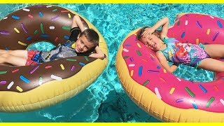 FOOD IN THE POOL!!! Shark Bite Scary Game & Giant Donuts For Kids