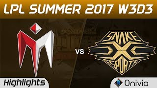 IM vs SS Highlights Game 3 LPL SUMMER 2017 I May vs Snake by Onivia