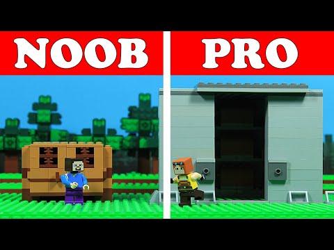 Lego Minecraft NOOB vs PRO VAULT Build Challenge Animation