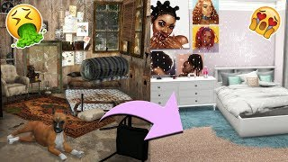 🤮 GRUNGE ROOM MAKEOVER 😱 (abandoned house..) | The Sims 4