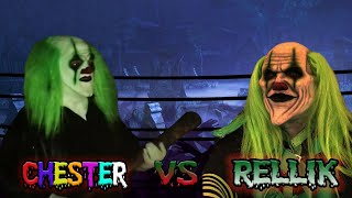 Chester the clown challenges rellik the clown to a wrestling match