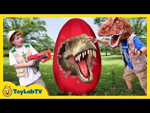 GIANT T-REX EGG! Dinosaur Surprise Toys Opening & Learn Dinosaurs for Children Family Fun Kids Video