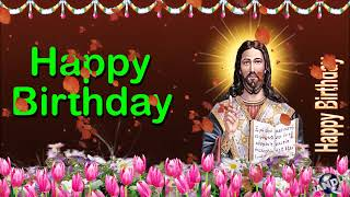 0 135 English Happy Birthday Greeting Wishes includes Jesus  Christ  with Bible by  Bandla