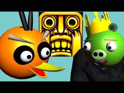 TEMPLE RUN starring ANGRY BIRDS ♫ 3D animated game mashup ☺ FunVideoTV Style ;