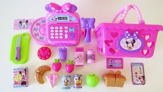 Minnie Mouse bowtastic cash register shopping basket velcro cutting fruit food kitchen accessory